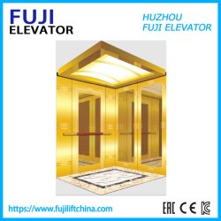 A FUJI Vvvf 630kg Goldn espelhar a gravação terminar elevador de passageiros com aço inoxidável Porta de vidro
