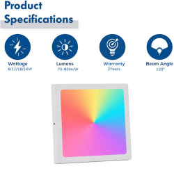 مؤشر LED ذكي RGB بتقنية WiFi RGB قابل للتخفيت بقدرة 12 واط قابل للضبط والتحكم به من خلال التطبيق ضوء اللوحة