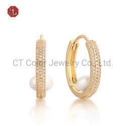 Venda por grosso Pirce Jóias brincos 925 Sterling Silver 18K Gold Silver Brinco Pérola Natural de Design Personalizado jóias de arcos