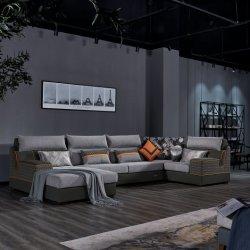Sala de estar Furnitue nova chegada luxo moderno da estrutura de madeira maciça Canto transversal modernas sofás de tecido