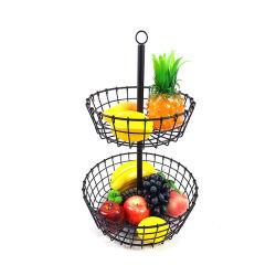 Ustensiles de cuisine des aliments porte-conteneurs 2 Tier Corbeille de fruits en métal amovible