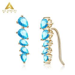 Beaux bijoux de gros 9K 14K 18K Clip oreille plaqué or Bijoux en pierres précieuses de l'oreille clip Earring Bijoux en argent avec Diamond