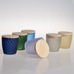 Fábrica china estilo portavelas de vidrio esmerilado frasco con tapa de madera