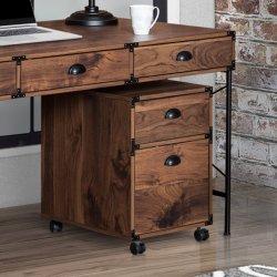 Accueil Mobilier de bureau en bois couleur noyer Armoire 2 tiroirs mobile
