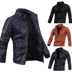La mode Printemps Noir Moto Custom Mens en imitation cuir synthétique vestes pour hommes
