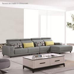 Por8125 Venta caliente Foshan tejido moderno de la esquina de sección Sala de estar en forma de L Muebles salón sofá