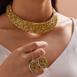 Collana in metallo con colletto in pietra a ferro di ferro completo Set di gioielli