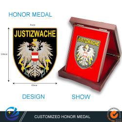 Medaglia d'onore personalizzata di alta qualità per gli sport con l'arte metalica Distintivo omaggio promozionale ricordo con scatola regalo in legno