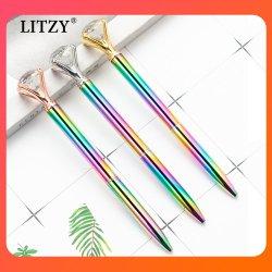 Большие стеклянные Diamond Шариковая Crystal творческих вращающиеся металлические шариковой ручки рекламе логотипа Рекламные сувениры