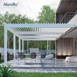 電子制御のモダンなルーブルルーフ屋外ガーデン防水ガゼボアルミニウムペルゴラ