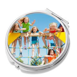 Piccolo specchio del metallo del compatto di figura rotonda di sublimazione dello specchio di trucco di modo