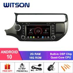 기아용 Witson 쿼드 코어 Android 10 차량용 GPS DVD 플레이어 Rio 2015 외부 마이크 포함, TPMS 기능 내장