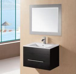 ミラー(EBONY-600)が付いている現代黒い光沢のあるMDFの浴室の虚栄心のキャビネット