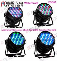 Профессия водонепроницаемый большой мощности PAR 64 54светодиоды 3 Вт RGBW открытый этапе зум LED PAR лампа Can
