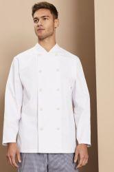 Botón de prueba de calor de manga larga chaqueta de Chef