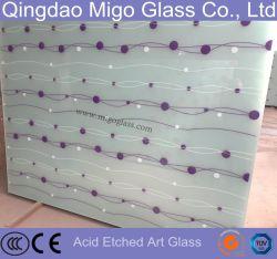 5mm Art décoratif de la plaque en verre dépoli gravé d'acide