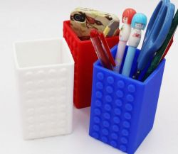 Ecológica titular de la pluma de silicona con forma cuadrada Caja de almacenamiento de material de papelería caso Pen
