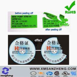 Удалите Самоклеящийся глянцевых цветов CMYK высокое качество хрупкий герметичный наклейки