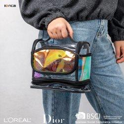 Arte original Multi-Funtional claro saco cosméticos PVC holográfica mistos