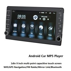 مشغل وسائط متعددة 1DIN Android 9inch Car Radio MP5 مع استريو مشغل فيديو لوحة معلومات السيارة لنظام الصوت
