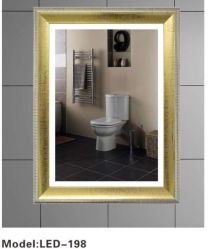 Golden Plástico de PVC cristal LED Photo Frame el cuarto de baño espejo de pared