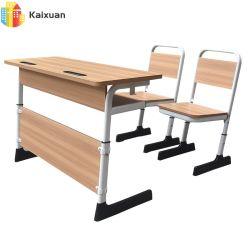 تصميم جديد خشبي حديث خشبي مكتب الطلبة المزدوج دراسة الأثاث المدرسة طاولة في غرفة الصف للأطفال مع كرسي