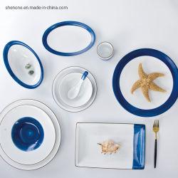 Shenoneのレストランのための耐久の磁器の白く長い長方形のパンの寿司の陶磁器の版