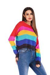 Les femmes de façon lâche du tricot vêtements décontractés Rainbow pullover rayé