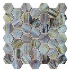 Глянцевая Diamond с шестигранной формы стекла стеклянной мозаики на стене ванной комнаты кафелем