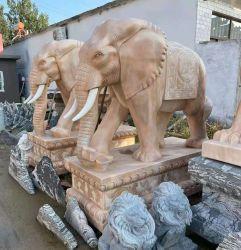 La sculpture en pierre de marbre sculpté à la main la sculpture de l'éléphant (sy-E001)