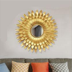 Espelho da Sun e arte de parede de prateleira de ferro para o lar e decoração de interiores