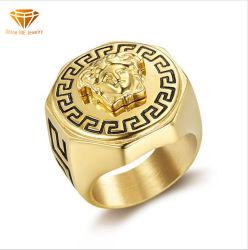 La Mitología Griega Medusa Ring de la marca de marea de acero de titanio Gold-Plated Medusa Hip Hop hiphop Anillo para los hombres Sgmr2625