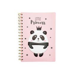 Tampa de PVC em espiral Notebook com decoração Panda para as crianças adolescentes