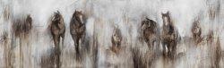 لوحات زيتية من زيت الحيوانات أفضل خيول من الفن، وزخرفي اليد. ديكور منزلى Ol-200619 الحجم 36X12 بوصة
