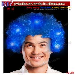 Ventilateurs avec des voyants LED Halloween perruque afro Kinky court Curl moelleux3055 synthétique (C)