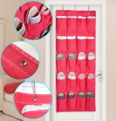 24 bolsillos grandes bolsillos claro sobre la puerta colgando del organizador de la zapata