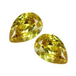 لون أصفر ذهبي 5 أمبير مكعب من الحجر السائب على شكل زركونيا