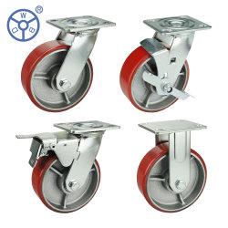 WBD Heavy Duty Caster Red Polyurethaan, gegoten kern van polyurethaan Zwenkwielen en universele wielen voor Trolley