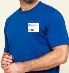 Camisa de algodão azul masculino T-shirt Gráfico Básico t casual de Verão