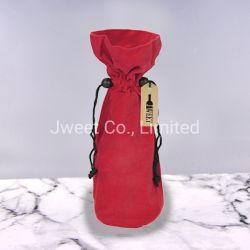 작은 로즈 빨간 우단 검정 졸라매는 끈 포도주 선물 부대