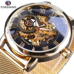 Forsining 512 Caixa transparente 2020 Moda Logotipo 3D gravura em aço inoxidável Dourado homens relógios mecânicos