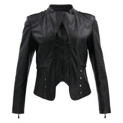 Vestiti di inverno delle donne per il rivestimento di cuoio della vita del nero del cappotto di modo di inverno del campione del rivestimento di cuoio