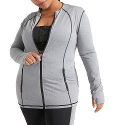 게다가 짐 웨어 스포츠 탑으로 달리는 체구 소녀 옷 지퍼 여성용 요가 재킷