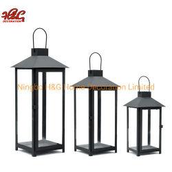 Lanterna decorativa del metallo della candela della casa nera della lanterna