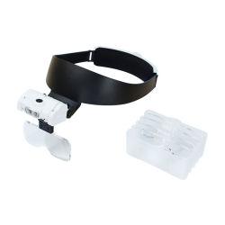 Halter-Stirnband-Brille-Vergrößerungsglas mit 3 LED-Ablichtungs-Vergrößerungsglas für Anzeigen-Reparatur-optisches Objektiv (BM-MG5039)