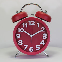 130mm Anel Duplo Vermelho Relógio de Alarme de Desktop