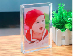 Marco acrílico magnética de doble cara clara imagen de pantalla del escritorio sin cerco mejor regalo para familiares y amigo