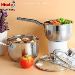 Caçarola com tampa de vidro talheres de aço inoxidável para utensílios de cozinha pote de leite para as crianças