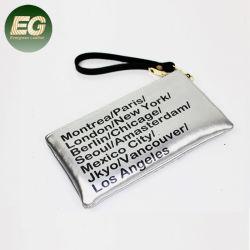 El GGA6185 Simple soporte para teléfono impreso personalizado Bolso Bolso pequeño logotipo de la Moneda de cuero auténtico Imprimir funda con cremallera cartera
