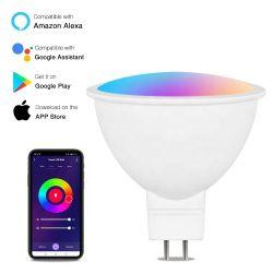 تقنية WiFi Smart LED Smart Light Spotlight من قسم المبيعات الساخنة AC DC بجهد 12 فولت 5 واط، G5.3 MR16، مصباح RGB، CCT 2700K 6500K ذكي، قابل للتخفيت مصباح LED من Tuya